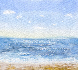 Watercolor sea beach background.