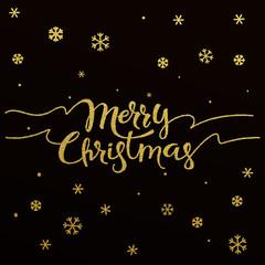 Merry Christmas gold glitter lettering design
