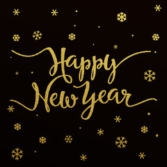 Happy New Year gold glitter lettering design