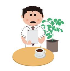 喫茶店で仕事をするビジネスマン