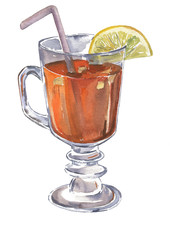 Glass of hot tea with lemon and spices drawn by watercolor.