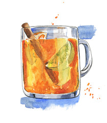 Mug of hot tea with lemon and cinnamon drawn by watercolor and ink.