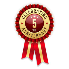 Gold 5th anniversary badge, rosette with red ribbon on white background