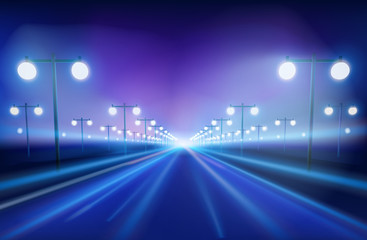 The avenue in the night. Vector Illustration.