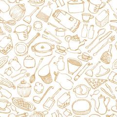キッチン雑貨 カフェ 手描きイラスト 背景