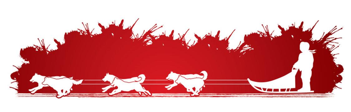 Sled Dogs designed on splash blood background graphic vector.