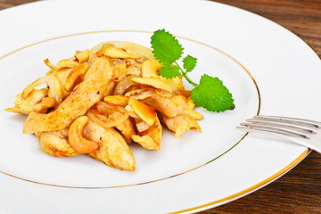 Chicken with Cashew Nuts and Soy Sauce. Asian Cuisine