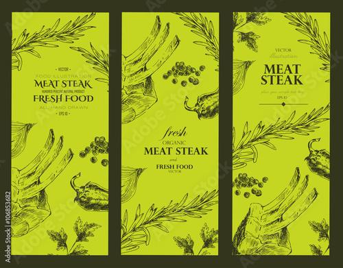 vector meat steak sketch drawing menu designer template banner food