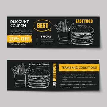 fast food coupon discount template flat design