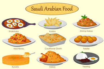 Collection of delicious Saudi Arabian food