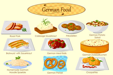 Collection of delicious German food