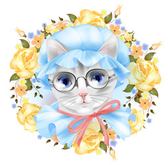 Vintage portrait of the cat with glasses and roses. Victorian st