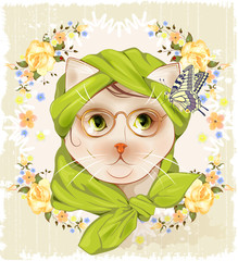 Portrait of the hipster cat with glasses, roses and butterfly. V
