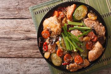 Korean food jjimdak: Stewed chicken with vegetables. Horizontal top view