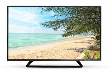 Television monitor sand sea image isolated on white background.