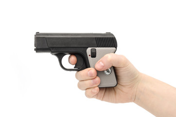 small pistol in female hand
