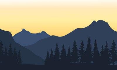 Silhouette of mountain and orange background