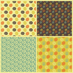 Set of abstract seamless repeat patterns. Hand drawn. Vector illustration.