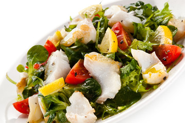 Fish salad - fried cod and vegetables