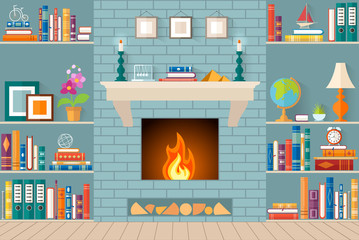 living room with bookshelves, fireplace. Flat style vector illustration. Interior design.