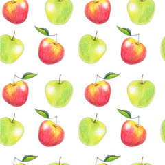 Seamless pattern with fruits drawn by color pencils