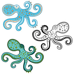 Cartoon octopus isolated on white background. Vector illustration. Undersea world.