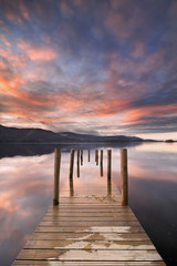 Flooded jetty in Derwent Water, Lake District, England