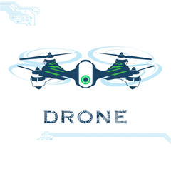 flying drone, quadrocopter, uav with camera Vector Illustration