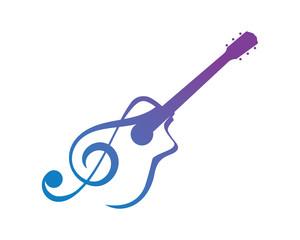 Modern Music Logo Symbol - Guitar Clef