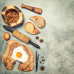 Baking ingredients and spices. Flour, eggs, sugar