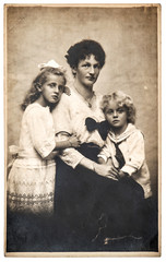 Family portrait mother children vintage clothing