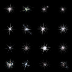 Shine stars with glitters and sparkles. stars set vector