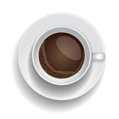 Coffee cup isolated.  Realistic Top  view.