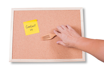 Contact us.  written on an yellow sticky note