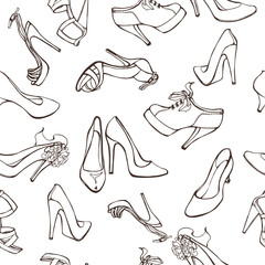 Woman shoes seamless pattern. Vector illustration.