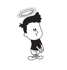 Vector cartoon image of a cute little boy in shorts and t-shirt standing with a halo over his head and smiling on white background. Made in a monochrome style. Positive character. Vector illustration.
