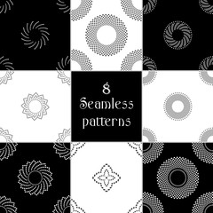 Set of 8 Abstract Seamless geometric pattern of polka dot
