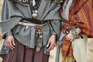 Close up of midsection of nomadic couple