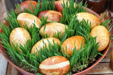 brown painted easter eggs