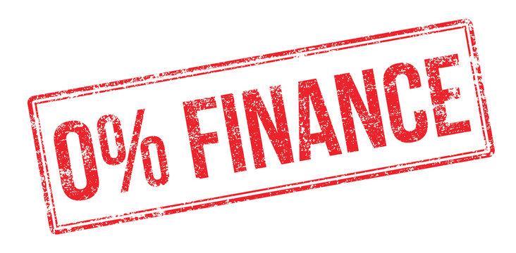 Zero percent finance red rubber stamp on white