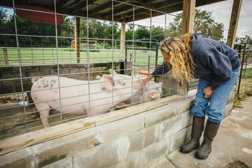 Caucasian farmer petting pig through fence on farm