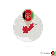 Afghanistan map and flag in circle. Map of Afghanistan.