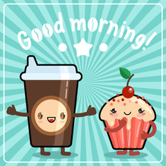 Coffee cup with muffin. Cute kawaii style. Lettering Good morning! Vector EPS 10.