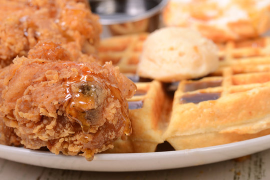 Closeup of Chicken and Waffles
