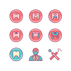 Dental sings set. Thin line art icons. Flat style illustrations.