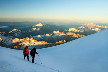 Climbers on Mount Elbrus slope