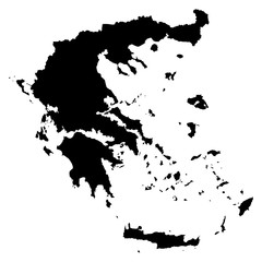 Greece black map on white background vector