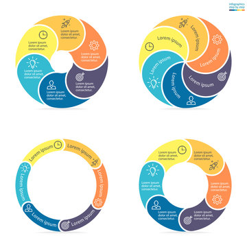 Circular infographics with rounded colored sections.