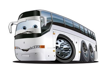 Cartoon Tourist Bus. Available EPS-10 vector format separated by groups and layers with transparency effects for one-click repaint