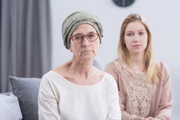 Worried sick older woman with cancer